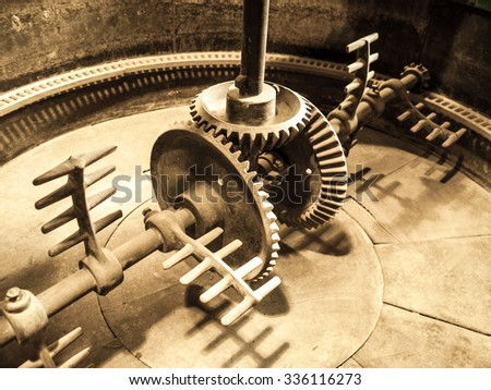Mixing machinery in old mash tank in beer brewery - stock photo