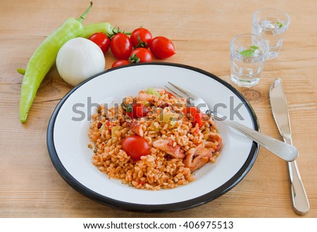 Mixing rice of the octopus - stock photo