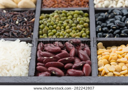 Mixture of beans in block - stock photo