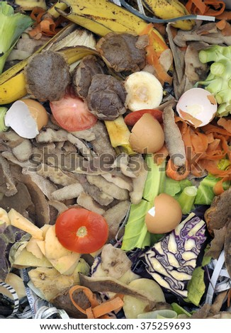 Mixture of composting materials comprising fruit and vegetable kitchen food waste with shredded newspaper. - stock photo
