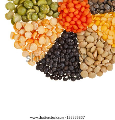 Mixture of dried lentils, peas, soybeans, legumes,beans  isolated on white - stock photo