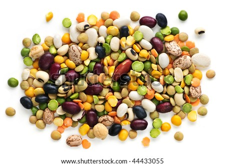 Mixture of dry beans and peas isolated on white background - stock photo