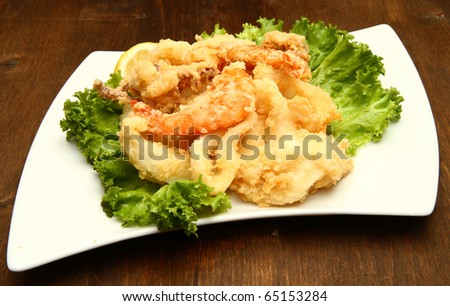 mixture of fried fish - stock photo