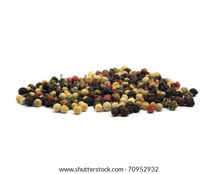 mixture of peppercorns on a white background - stock photo