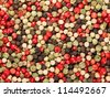 mixture of peppers hot pepper, red pepper, black pepper, white pepper, green pepper, isolated, white background - stock photo