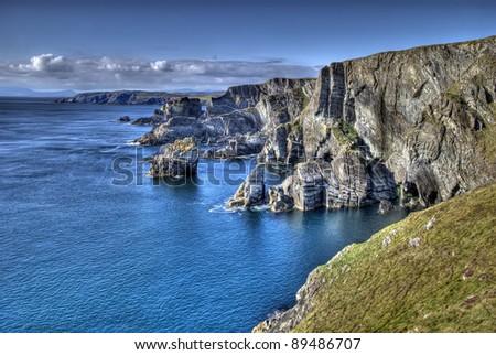 Mizen Head, Ireland - atlantic coast cliffs at Mizen Head, County Cork, Ireland - stock photo