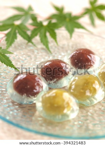mizu-manju?Japanese confection ? - stock photo