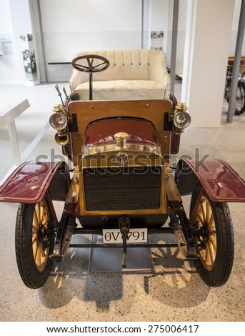 MLADA BOLESLAV, CZECH REPUBLIC -JUNI 22, 2014: Skoda Auto Museum in Mlada Boleslav. Automobile museum presents the history of the company Skoda Auto and it is predecessor Laurin & Klement - stock photo