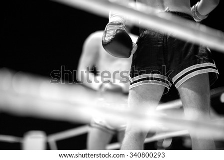 MMA fighters at the ring, monochrome - stock photo