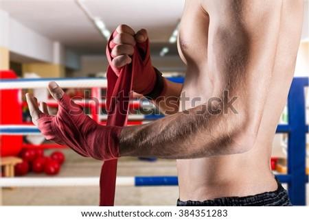 MMA fighting. - stock photo