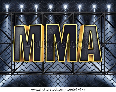 MMA text and sport stage lighting - stock photo