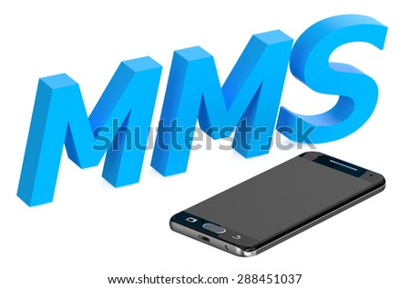 mms concept with smartphone  isolated on white background - stock photo