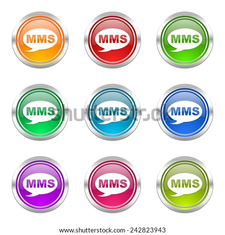 mms icons set message sign  - stock photo
