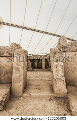 Mnajdra Temple within Hagar Qim megalithic complex, one of the most ancient religious sites on Earth in Malta - stock photo