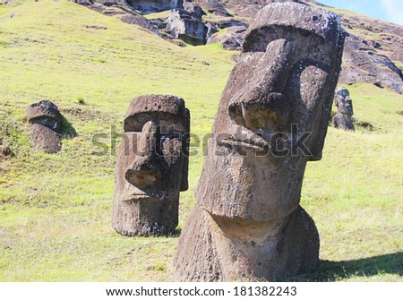 Moai at Quarry, Easter Island, Chile  - stock photo