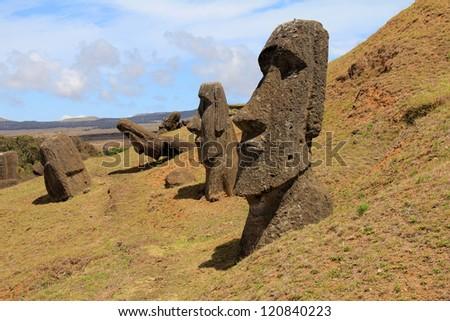 Moai at Rano Ranaku Volcano  Quarry - stock photo