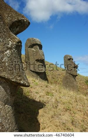 moai easter island - stock photo