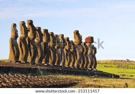 Moai of Ahu Tongariki, Easter island - stock photo