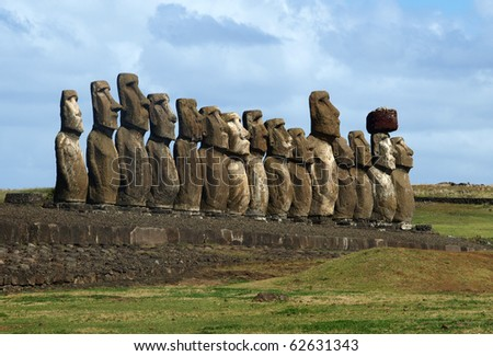 Moai on Easter Island - stock photo