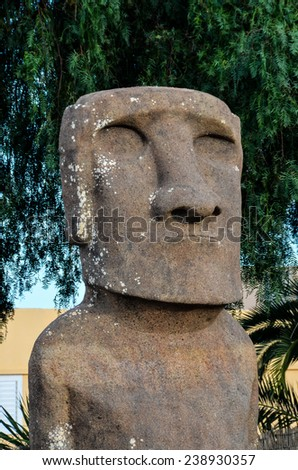 Moai standing from Easter Island , Chile South America - stock photo