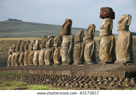 Moai statues at Ahu Tongariki on Easter Island - stock photo