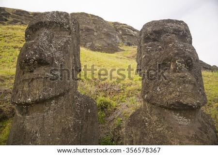 Moais at Ahu Tongariki (Easter island, Chile) - stock photo