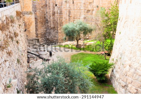 Moat near a tower of david, at the old city walls of Jerusalem - stock photo