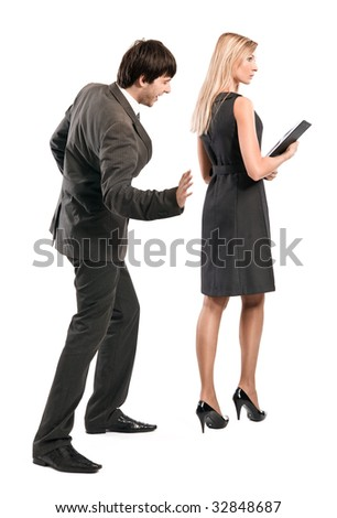 mobbing in office - stock photo
