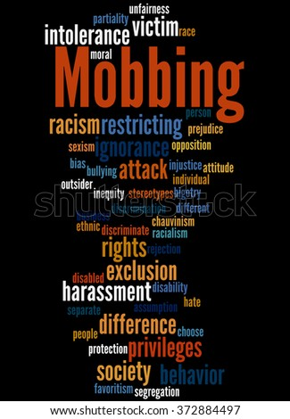 Mobbing, word cloud concept on black background.  - stock photo