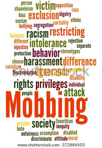 Mobbing, word cloud concept on white background.  - stock photo