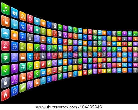 Mobile applications concept: endless row of colorful app icons isolated on black background - stock photo