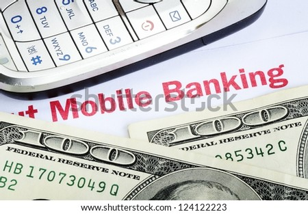 Mobile banking concept of online banking with smartphone - stock photo