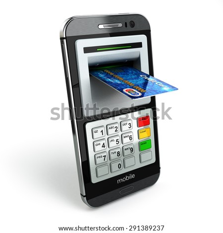 Mobile banking concept. Smartphone as ATM and credit cards. 3d - stock photo