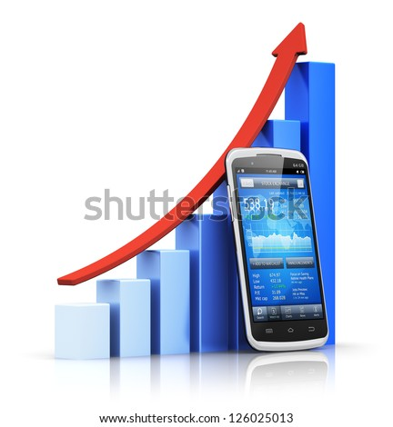 Mobile banking, e-business and financial growth, development and success concept: smartphone with stock exchange market application and blue growing bar chart with red arrow isolated on white - stock photo