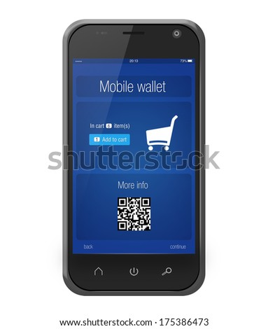Mobile banking wallet on screen of smartphone in iphone style isolated on white - stock photo