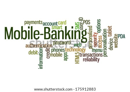 Mobile Banking word cloud on white background. - stock photo