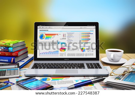 Mobile business work concept: modern laptop or notebook, touchscreen smartphone, newspaper, calculator, credit cards, ballpoint pen, color hardcover books and cup of coffee on wooden table outdoors - stock photo