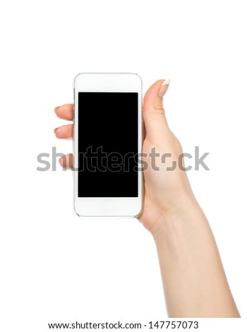 Mobile cell phone in hand with blank black screen for copy space isolated on a white background - stock photo