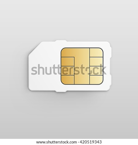 Mobile Cellular Phone Sim Card Chip Isolated on White Background - stock photo