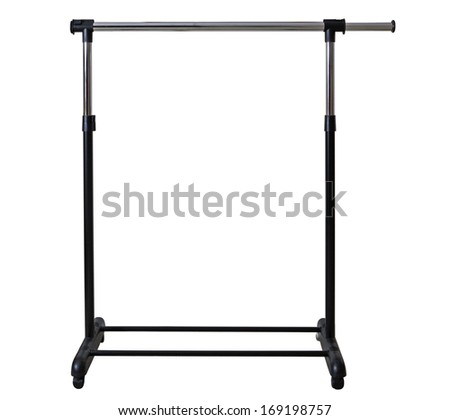 Mobile Clothes Racks Garment Rails isolated on white background - stock photo