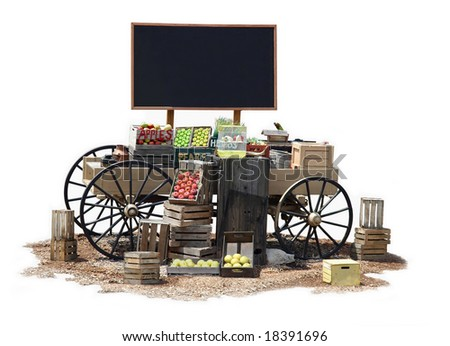 Mobile commercial Old Western wagon with blank billboard for text space - stock photo
