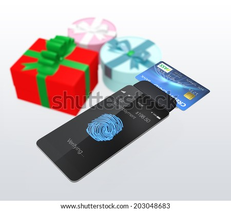 Mobile credit card reader for fast payment concept - stock photo