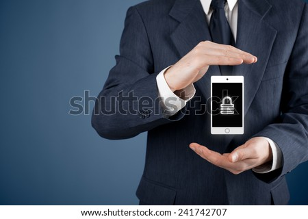 Mobile device (mobile phone, cellphone, tablet) security concept. Protecting gesture of man and symbol of mobile device with padlock. - stock photo
