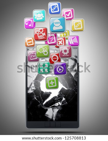 mobile device with color application icons High resolution 3d render - stock photo