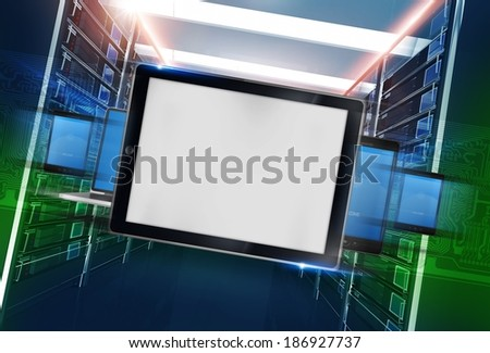 Mobile Devices in Datacenter Concept Technology Illustration. - stock photo