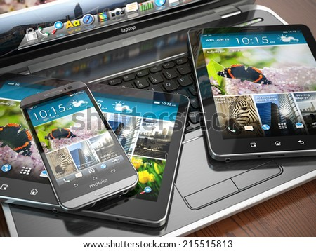 Mobile devices. Laptop, smartphone and tablet pc. 3d - stock photo