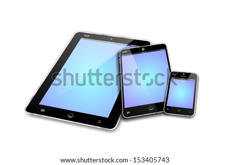 MOBILE DEVICES like tablet pc, mini tablet or note and smartphone or cellphone with blue empty screens  - stock photo