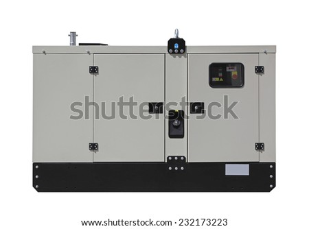 Mobile diesel generator for emergency electric power isolated - stock photo
