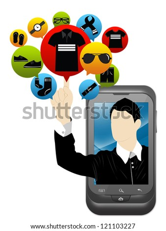 Mobile E-Commerce and Online Shopping Concept Present by Smartphone With Businessman Pointing to Colorful Men Fashion Icon Isolate on White Background - stock photo