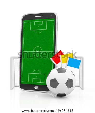 Mobile Football Concept. Soccer Field in Touchscreen Smart Phone with Soccer Ball and Gate isolated on white background - stock photo